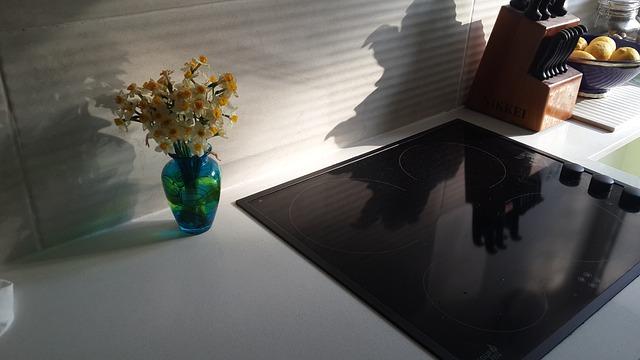 váza, květina, sprák, kuchyňská linka