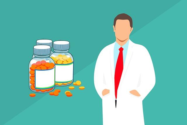 lékař a pilulky