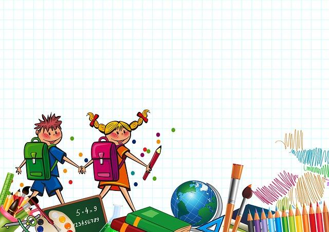 školáci s pomůckami