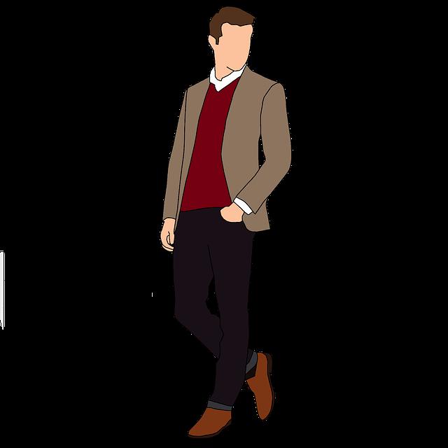 kreslený obrázek muže v hnědém saku s červeným svetrem