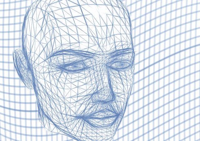 rozpracovaná grafika obličeje