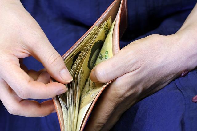 bankovky v peněžence, ruce